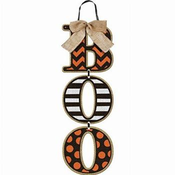 quotBooquot Halloween Wall Sign - Hanging Wood Letters with Burlap