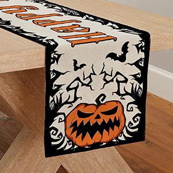 CROWNED BEAUTY Happy Halloween Table Runner 13 x 72 Inch